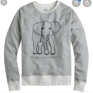 J. Crew Gray For the Love of Elephants Sweatshirt